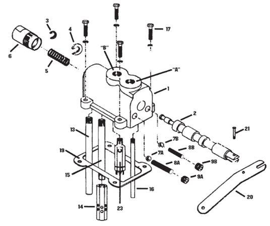 Hyd Control Valve Parts : Way hydraulic valve diagram tractor system